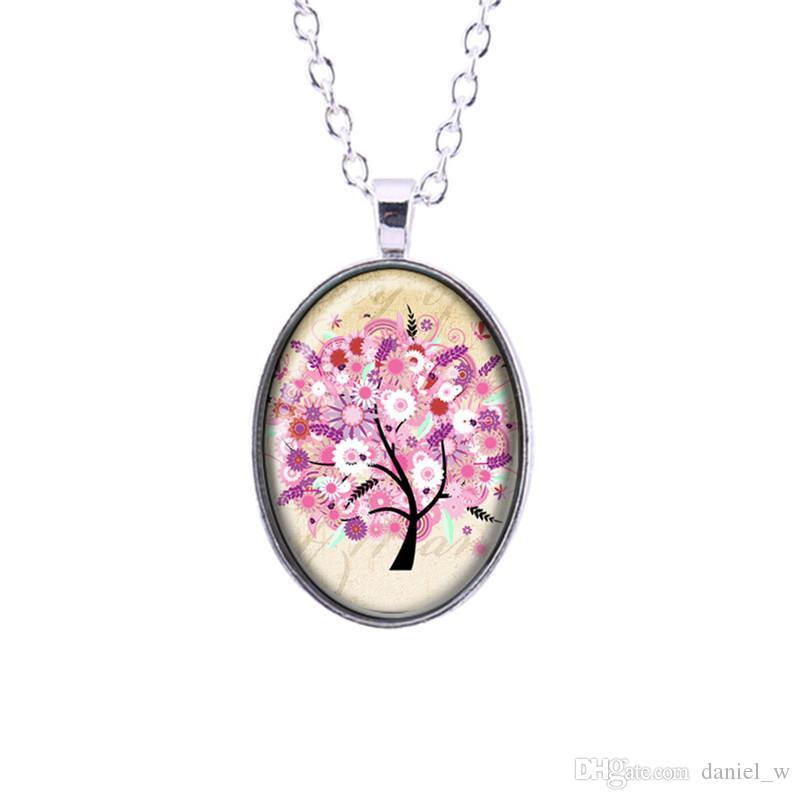 Atacado arco íris da árvore de vida padrão de cabochão de vidro pingente de flor colares com prata colar de ouro arte para as mulheres