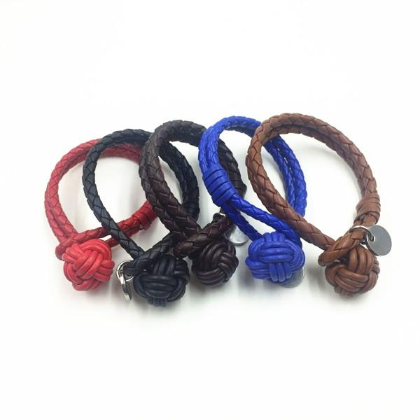 Fashion Jewelry 2016 BV Braided Leather Small Ball Bracelet For Men Bulk Buy From China