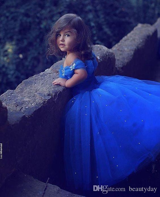 Dit Mhamad Royal Blue Princess Wedding Girl robes de fleur Puffy Tutu Cristaux brillants 2019 Toddler Little Girls Pageant Communion Robe