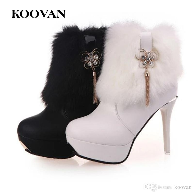 The new autumn winter high-heeled boots rice white rabbit fur boots with thick with waterproof fashion Martin boots popular online vDxX1