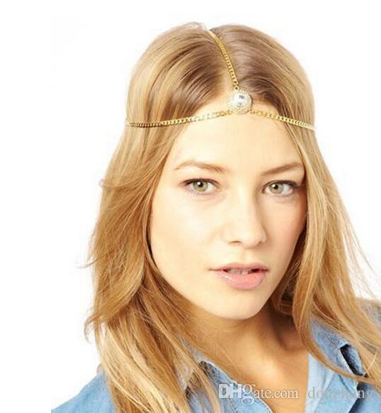Sıcak Altın Kaplama Başkanı Zincir Saç Takı Rhinestone Kristal Yuvarlak Alın Saç Aksesuarları Boho Kafa Bandı 12 Adet