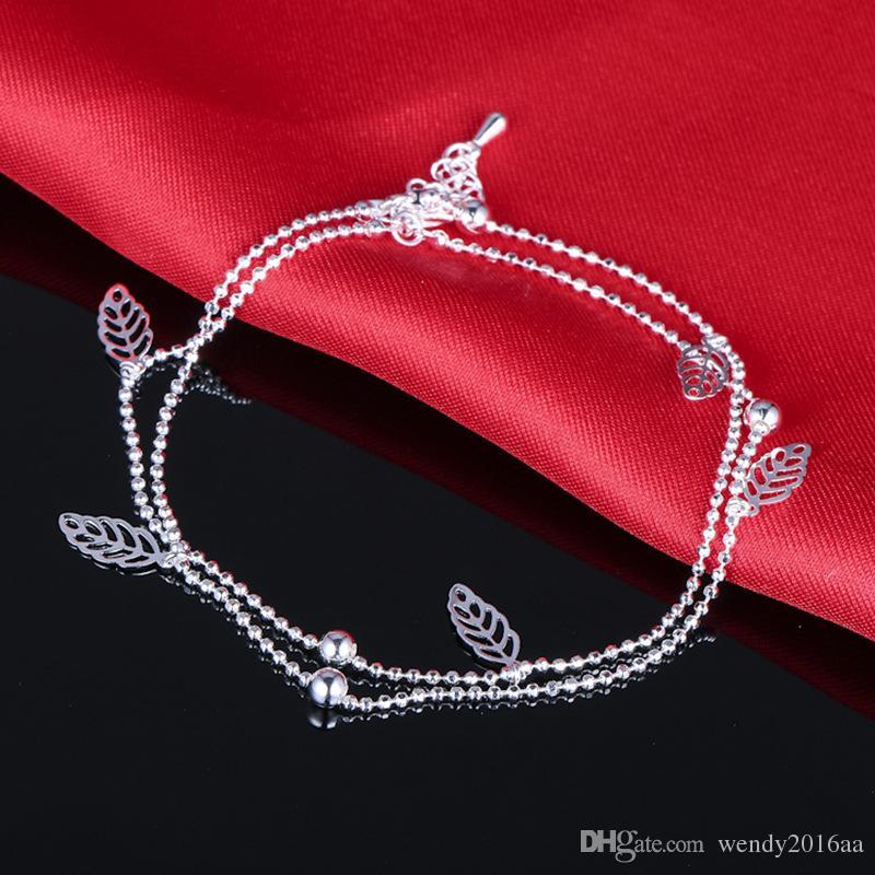 Venta al por menor 3 unids 925 pulsera de plata esterlina único Niza Sexy perlas simples de plata tobillera tobillera joyería del pie