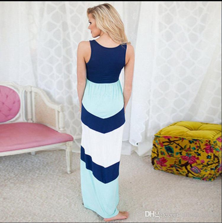 Summer mother and daughter dresses Girls color block slim dresses Family Matching Outfits Kids Baby girl Sundress Beach Holiday Dress blue