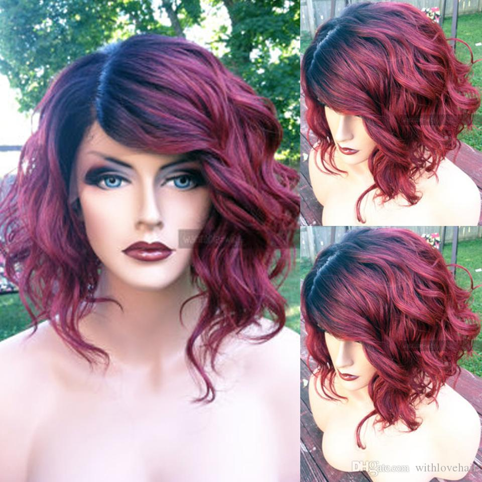 Bob Style Two Tone 1B 99J Burgundy Ombre Human Hair Lace Front Wig Short Bob Wine Red Full Lace Wig