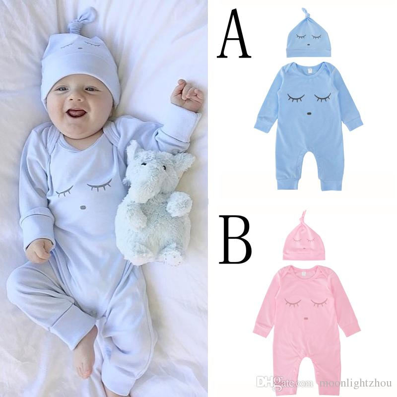 6792e80e6384 2019 Baby Boy Romper Christmas Pink Bue Eyelash Newborn Girl Jumpsuit One  Pieces Rompers Caps Hats Long Sleeve Kids Infant Clothes Outfits From ...