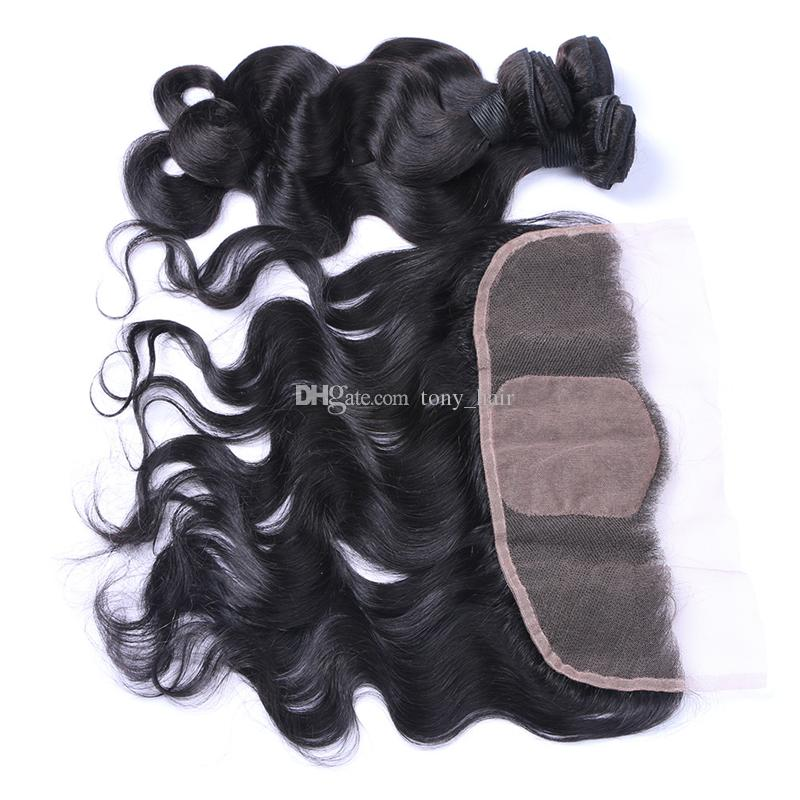 Virgin Brazilian Body Wave Wavy Hair With Silk Base Frontal Brazilian Virgin Hair 3Bundles With 13x4 Silk Top Full Lace Frontals