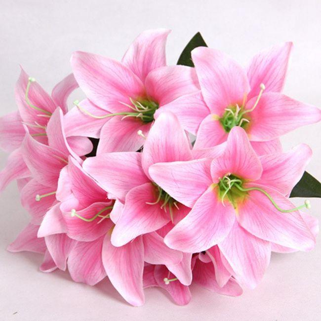 Hot Sale 10heads Lily Flower Bouquet Fragrant Silk Flowers ...