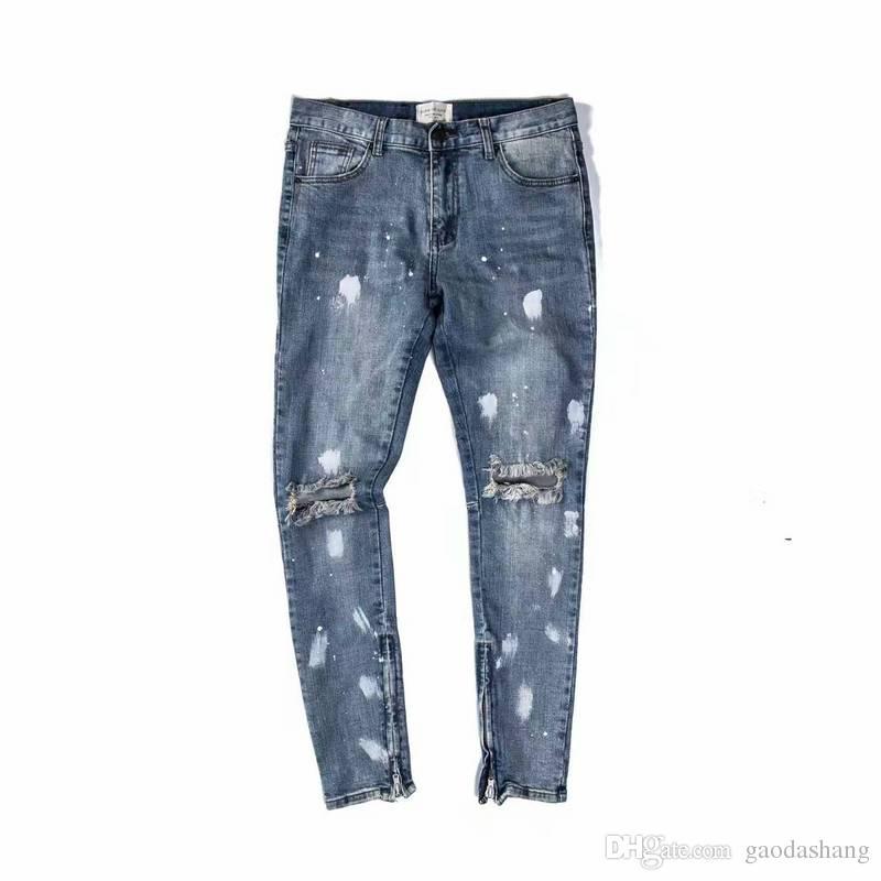 Neue heiße Mode 2018 Fear of God FOG Reißverschlüsse Skinny Slim Fit Herren Distressed Justin Bieber schwarzer Baumwolle Denim Jeans Männer Jean