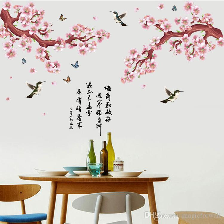 Pink Peach Flowers Tree Branch Flying Birds Butterfly Chinese Poet Wall Stickers Living Room Bedroom Decor Wallpaper Poster