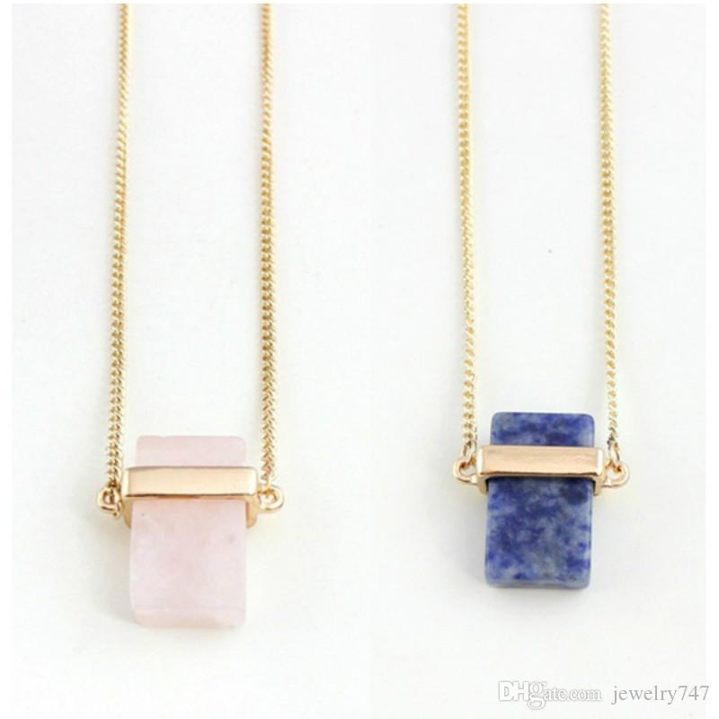 Natural Stone Pendants Rectangle Crystal Necklaces for Women Quartz Stones Necklace Crystal Stones Jewelry
