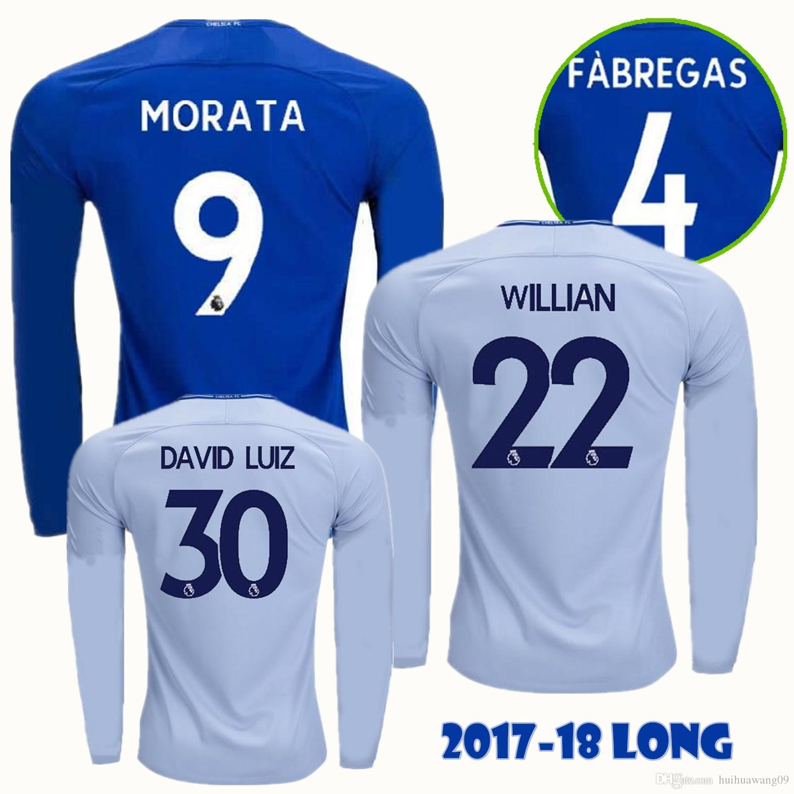 check out 530f6 df89d 2017-18 Long Home Away Chelsea Soccer Jerseys Willian Hazard Kante Fabregas  Diego Costa Pedro David Luiz Morata Batshuayi Football Shirt