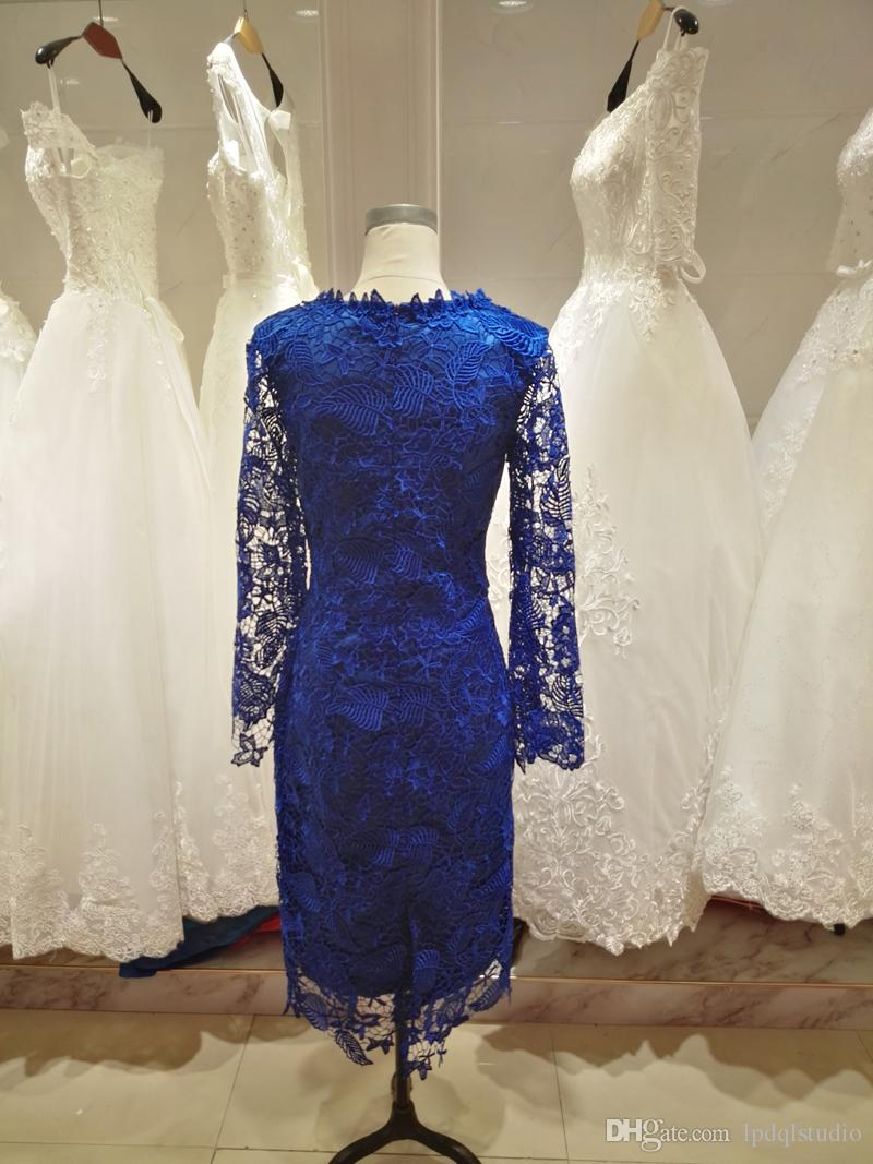 Elegant Royal Blue Lace Mother of the Bride Dresses Tea Length Long Sleeves Mother of the Bride Dresses Fall Winter Pale Pink,Green