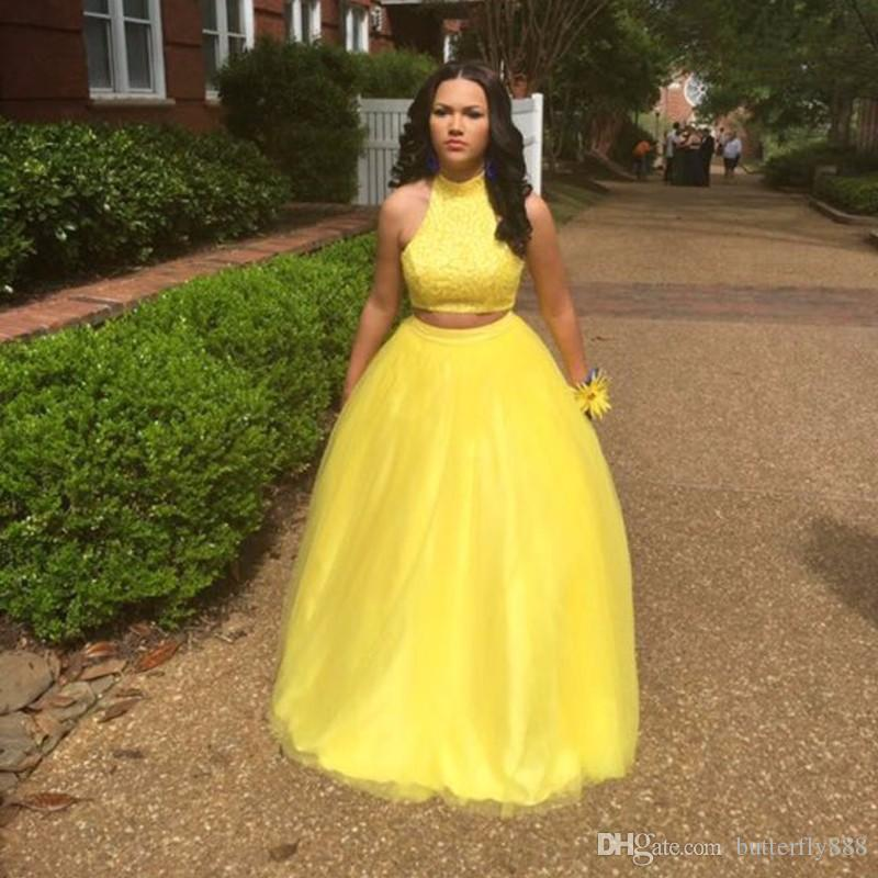 Sexy Long Yellow Two Piece Prom Dresses 2017 New Arrive High Neck ...