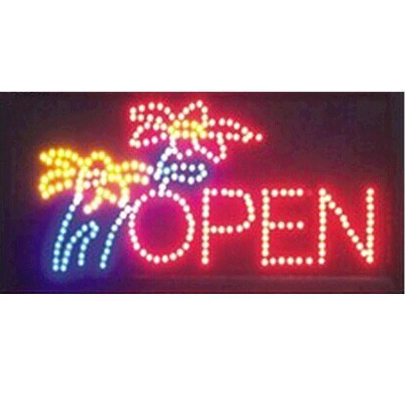 2019 sıcak satış 10 * 19 İnç Yarı açık Ultra Parlak çiçek dükkanı tabela açık neon işareti toptan açtı