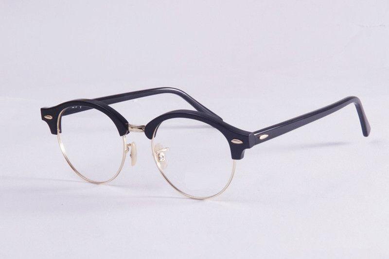 aa8a4d1b210 2019 Men Vintage Optical Glasses Frame Brand Designer Plank Semi Rimless  Frame Retro Round Eyeglasses For Women Round Myopia Frames With Case From  Emilyqun