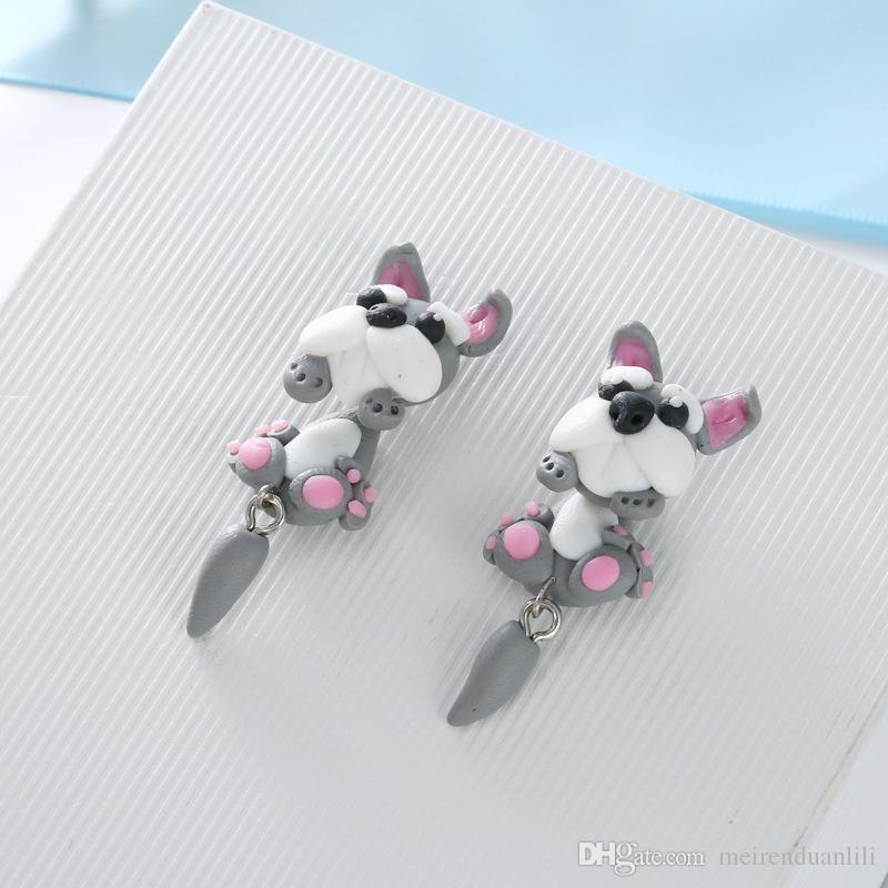 Cute Animal Orecchini le donne Little Girls Bambini fatti a mano a buon mercato Polymer Clay Orecchini a cerchio Cartoon vendita calda regalo bambini