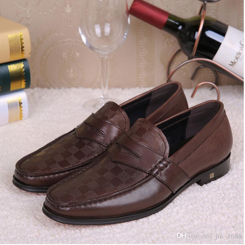 Zapatos de cuero genuino hechos a mano de lujo de alta calidad para hombre Negro Brown Silp en italiano formal zapatos de vestir de boda para hombre Pisos 45