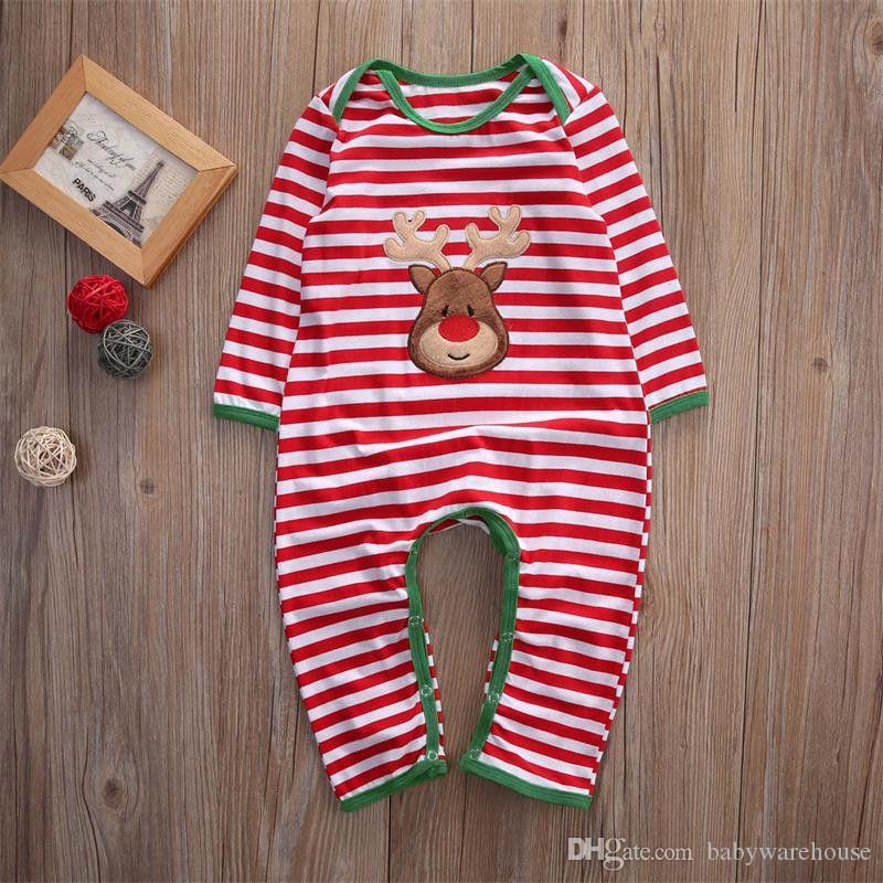 Vestiti del bambino di Natale Pagliaccetti Pigiama a strisce Pagliaccetto da notte Paglia manica lunga Tute di cotone Abbigliamento neonati Neonati Vestiti ragazze