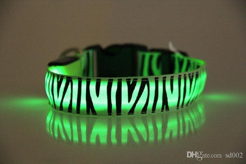 LED Light Up Collare cani Zebra Pattern Safty Animali Necklet Flessibile Eco Friendly Puppy Leashes Popolare 2 9gr B