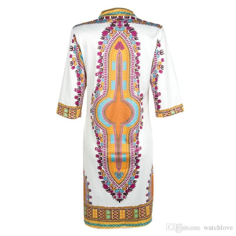 2016 جديد إمرأة الصيف الزى اللباس التقليدي الأفريقي dashiki طباعة حزب فساتين زائد الحجم العميق الخامس الرقبة السيدات اللباس رداء