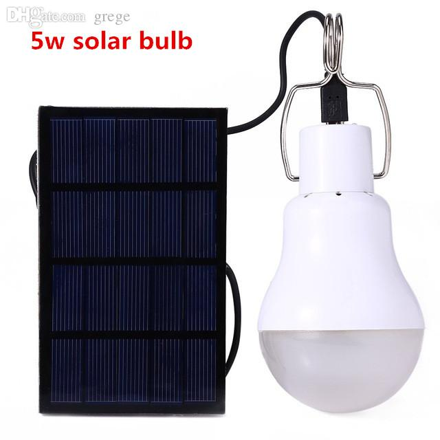 Wholesale-5w Solar Powered Portable Led Bulb Lamp Solar Energy Lamp led Lighting Solar Panel Camp Nightfair Travel Used 5-6hours