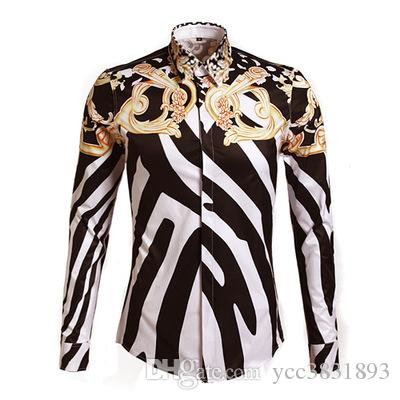 Мужчины Зебра печати королевский стиль повседневная Slim Fit стильные рубашки платья дизайнер рубашки с длинными рукавами Мужские рубашки хлопок мода одежда