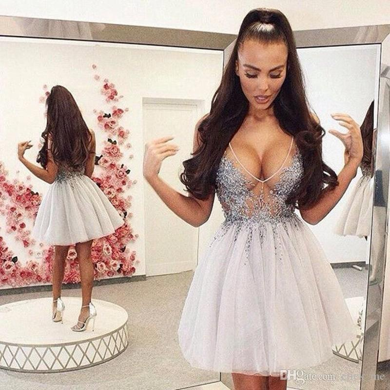 Sexy Deep V Neck Short Party Dresses Sheer Neckline Appliques Sequins Beads A Line Cheap Homecoming Dress See Through Prom Gowns Formal Wear