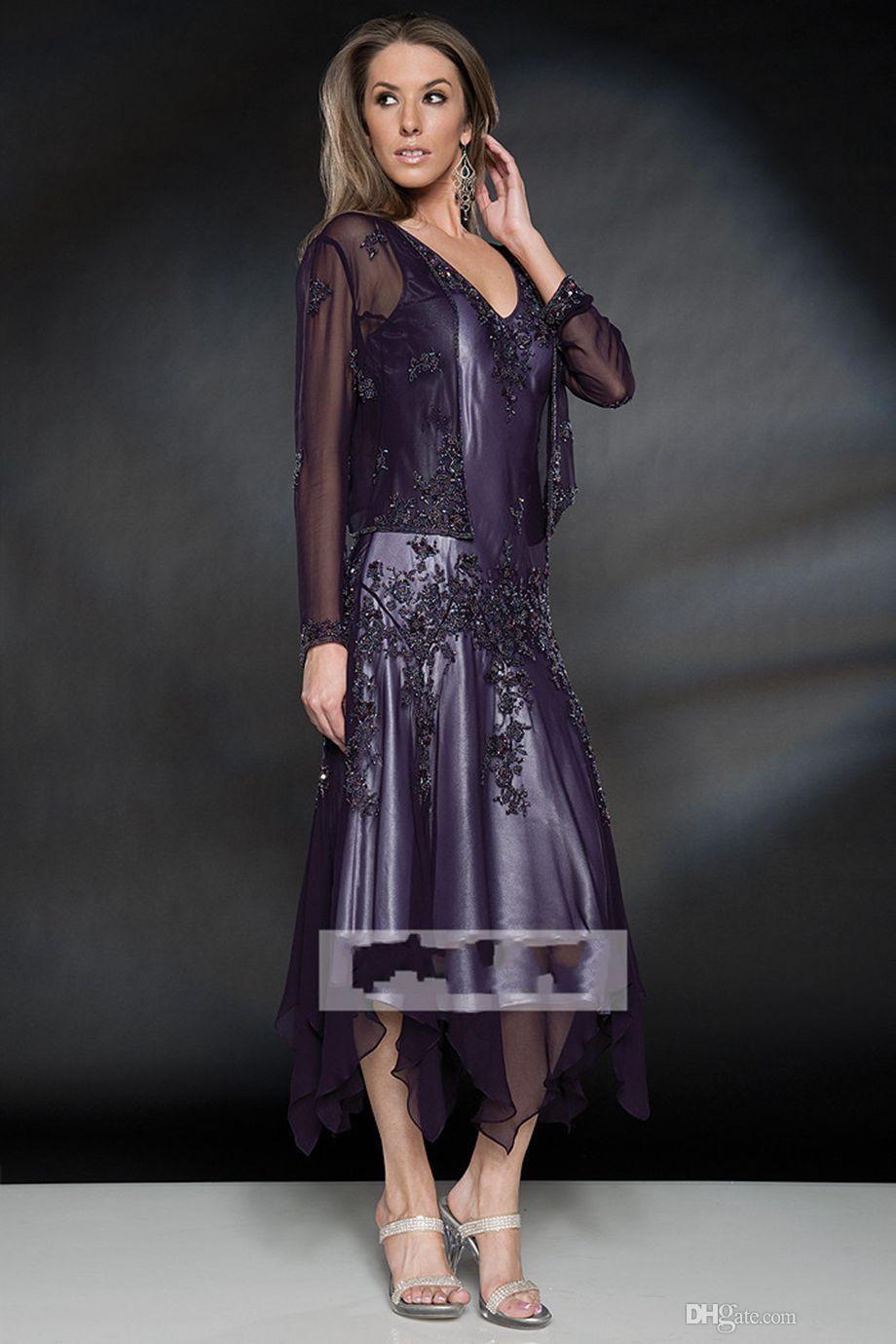 2020 Vintage V шеи с длинными рукавами Матерью чай Длина платья невесты шнурка Аппликация Бисероплетение шифон невесты свадебные платья гостей с курткой