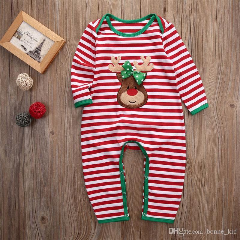 عيد الميلاد طفلة بوي الملابس منامة الزي عيد الميلاد للأطفال حديثي الولادة BODYSUIT مخطط رومبير رودولف الرنة 2 اساليب الشتاء الملابس بالجملة