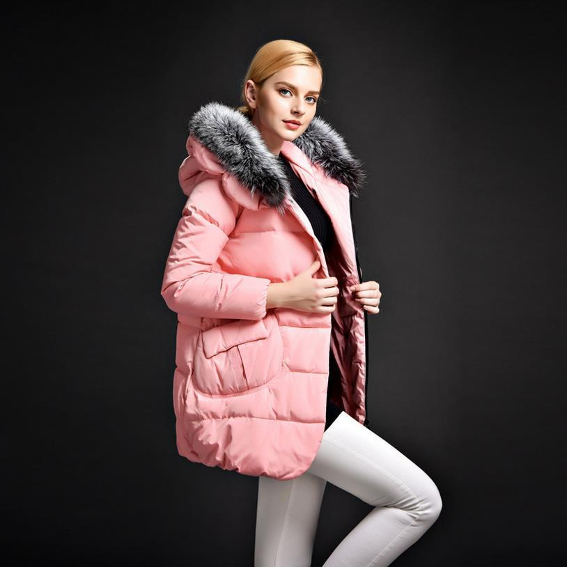2017 Newest Winter Jacket Women Coats Big Fox Fur Collar White ...