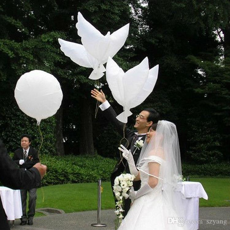 Hot Sales 500pcs/lot white bio dove pigeons bird helium balloons wedding/party event decorations size 105*45cm Free Shipping