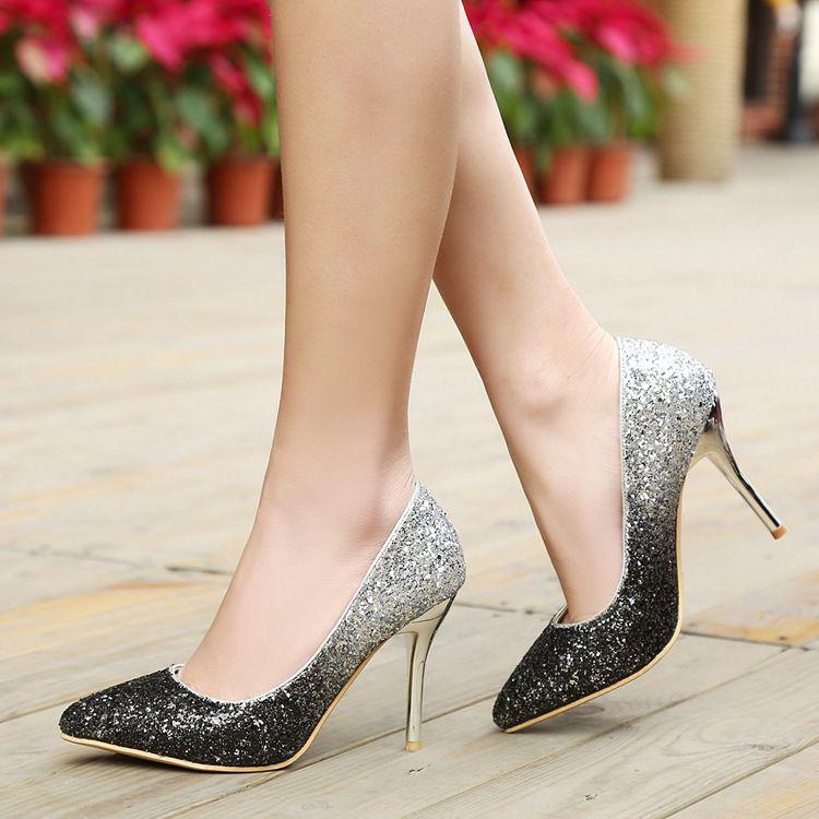 Cheap Summer Women's low-cut Pumps Lady rhinestones Silver Gold Burgundy bottom High heel shoes for Female wedding bride dress v shoes