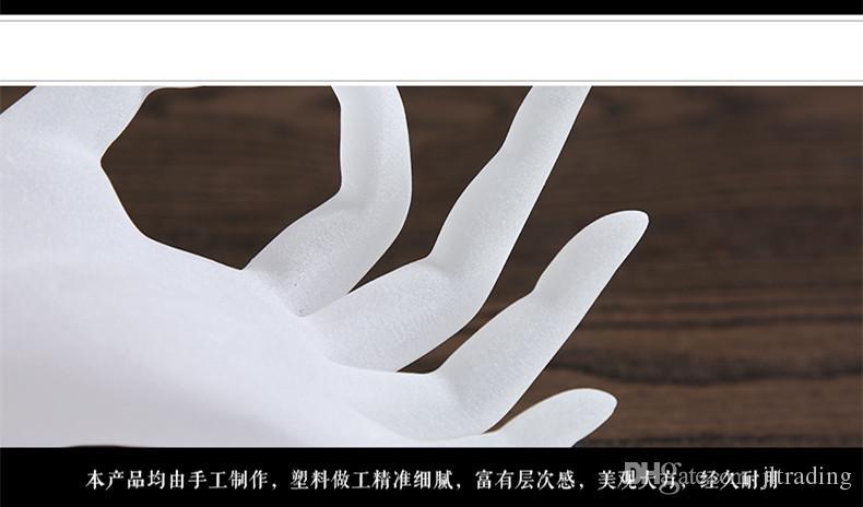 Smycken Display Ring Stand Akryl Ring Armband Halsbandshållare Visning Vit OK Handform Dislay