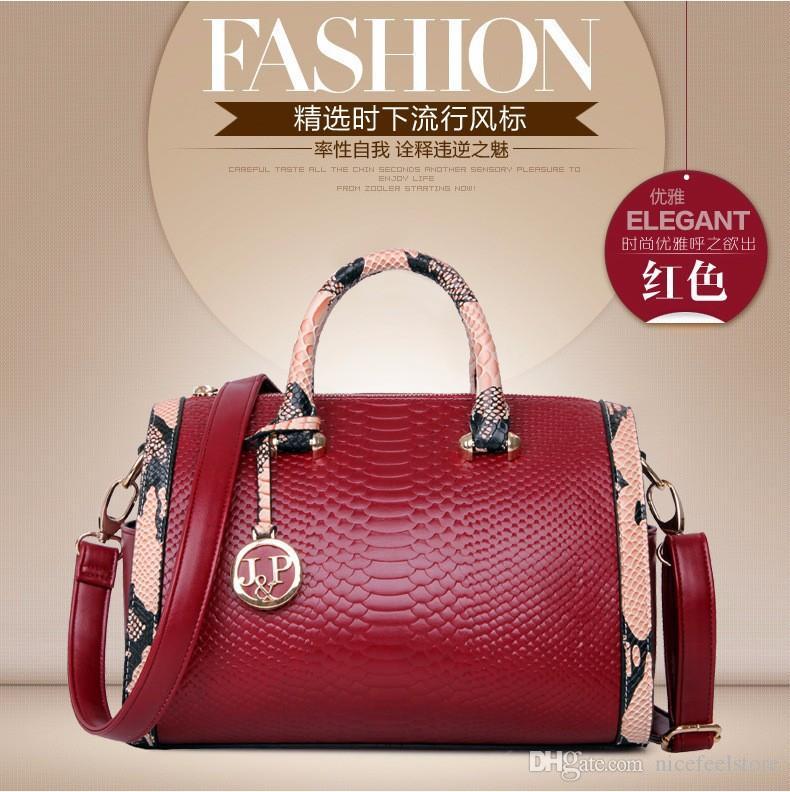 2016new arrival!New Women Handbag cheap Genuine Leather Bags snakeskin Leather Handbags Shoulder Bags Classic Bag Cowhide Bolsas Totes