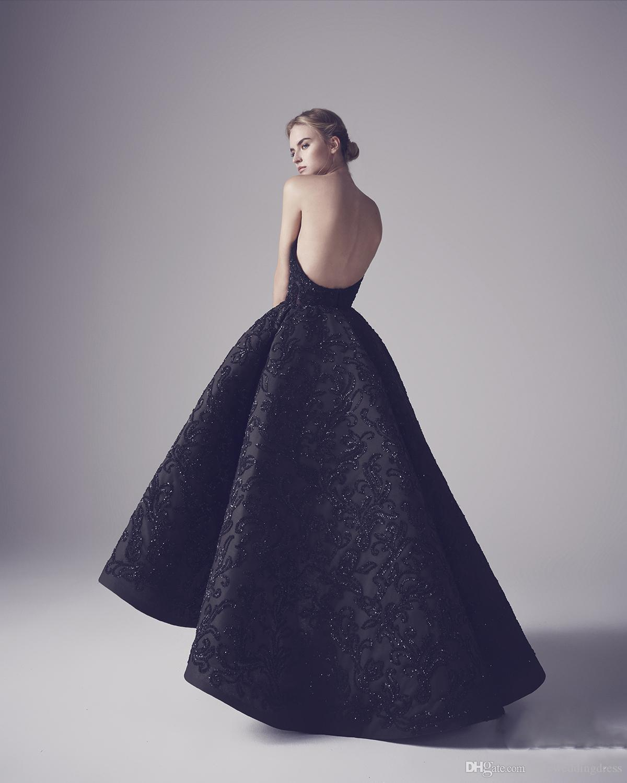Ashi Studio Vestidos de noche negros Atractivos sin tirantes sin respaldo Apliques de lentejuelas Vestidos de baile Vestidos elegantes de fiesta de noche de Foraml de cisne negro