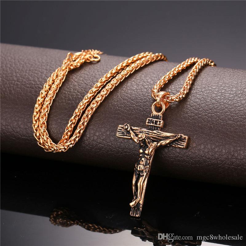 U7 Crucifixo Cruz Pingente de Colar Pulseira de Ouro / Preto Gun Banhado / Aço Inoxidável Moda Jóias Religiosas para As Mulheres / Homens Colar de Fé