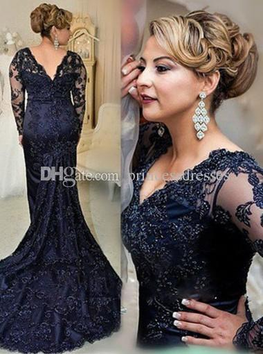 2017 New Dark Navy Lace Mother Of The Bride Dresses Mermaid Long Sleeve V-Neck Backless Formal Wedding Guest Dresses With Beads Custom Made