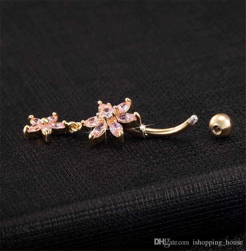 Nuovo Arrivel Body Piercing Gioielli Bello fiore dell'ombelico Belly Bottone Anelli pendenti dell'ombelico Piercing Anello della pancia Piercing BR-088