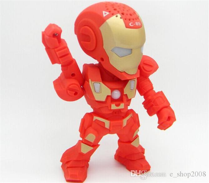 C-89 Iron Man bluetooth speaker with LED Flash light Iron Man figure Robot portable Mini wireless subwoofers bluetooth support TF FM USB
