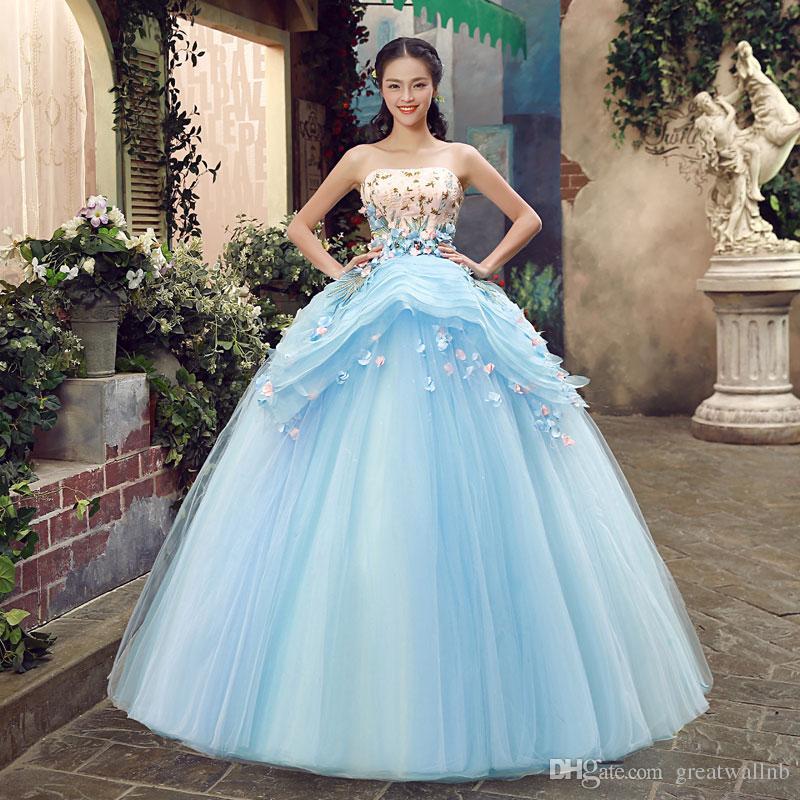 Light Blue Luxury Medieval Dress Rhinestone Beading Ball Gown Siss ...
