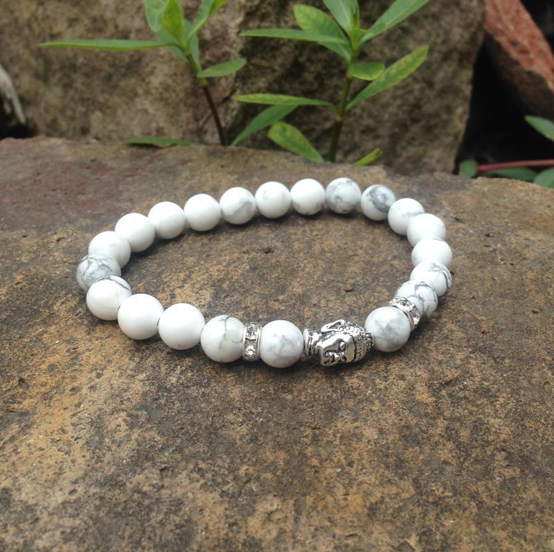 SN0383 Novo Design Homens Buddha yoga pulseira howlite beads alta qualtiy pedra bead pulseiras de prata pulseira de buda