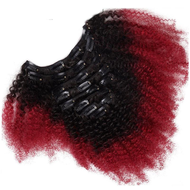T1b Red Ombre Clip In Human Hair Extensions Afro Kinky Curly For Black Women Two Tone Brazilian Virgin Hair Clip Ins 100g