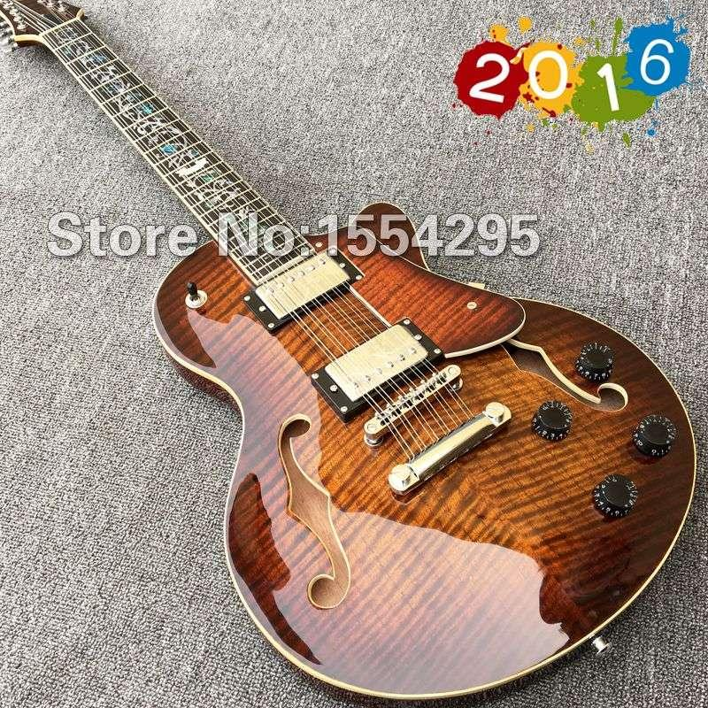 best 12 string electric guitar hollow body f holes guitar with flamed maple abalone flower. Black Bedroom Furniture Sets. Home Design Ideas