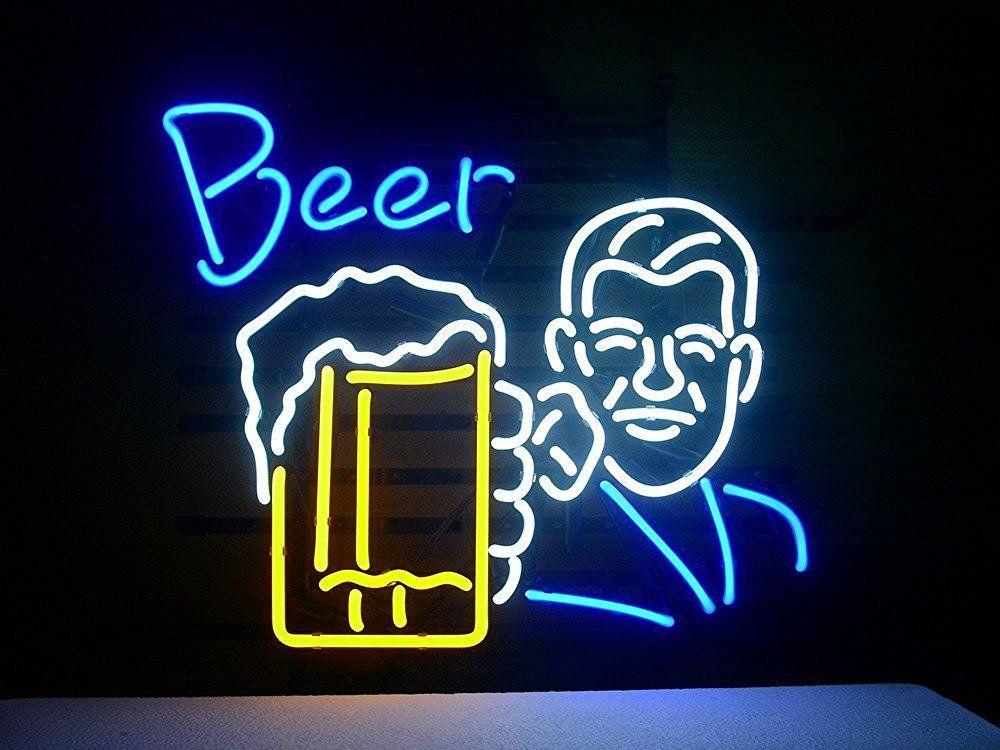 Brand New Beer Mug Real Glass Neon Sign Beer Light 36X24
