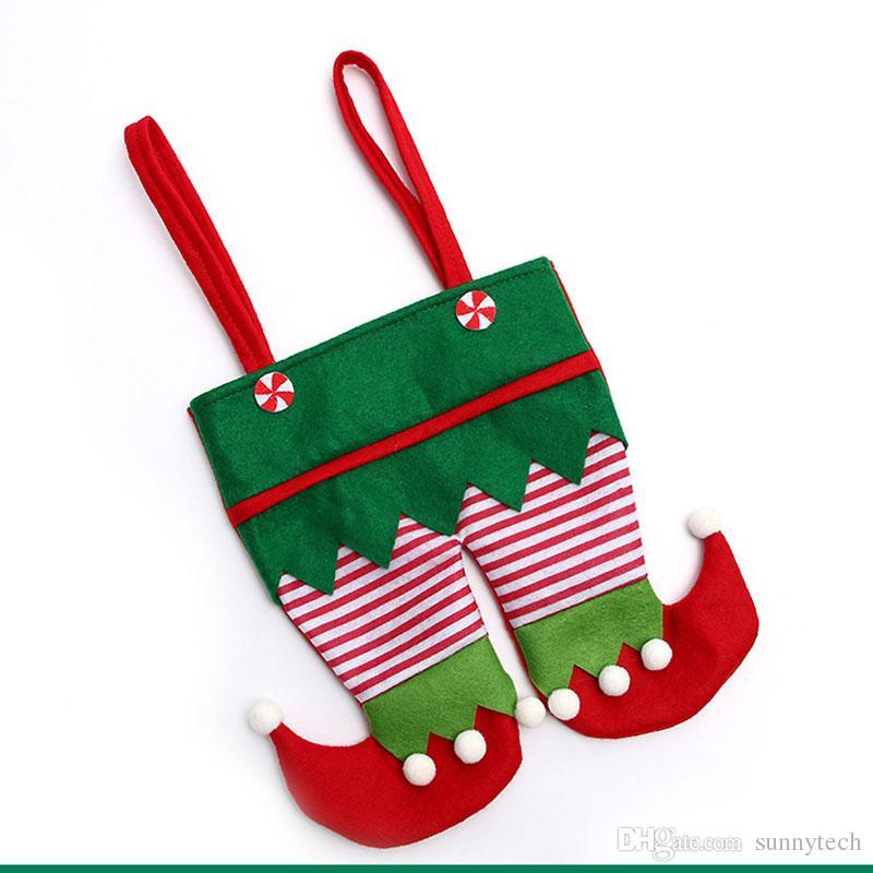 غير المنسوجة النسيج عيد قزم السراويل جورب حقيبة الحلوى للأطفال x-mas حزب الديكور زخرفة هدية ZA5052