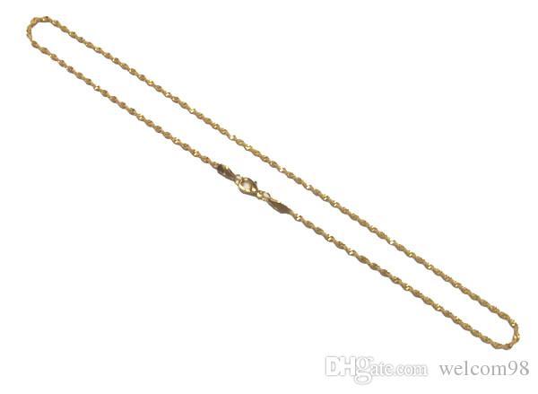10 pçs / lote banhado a ouro Chapas Cadeia para DIY Fashion Craft Jóias Presente Colar 16inch GO15
