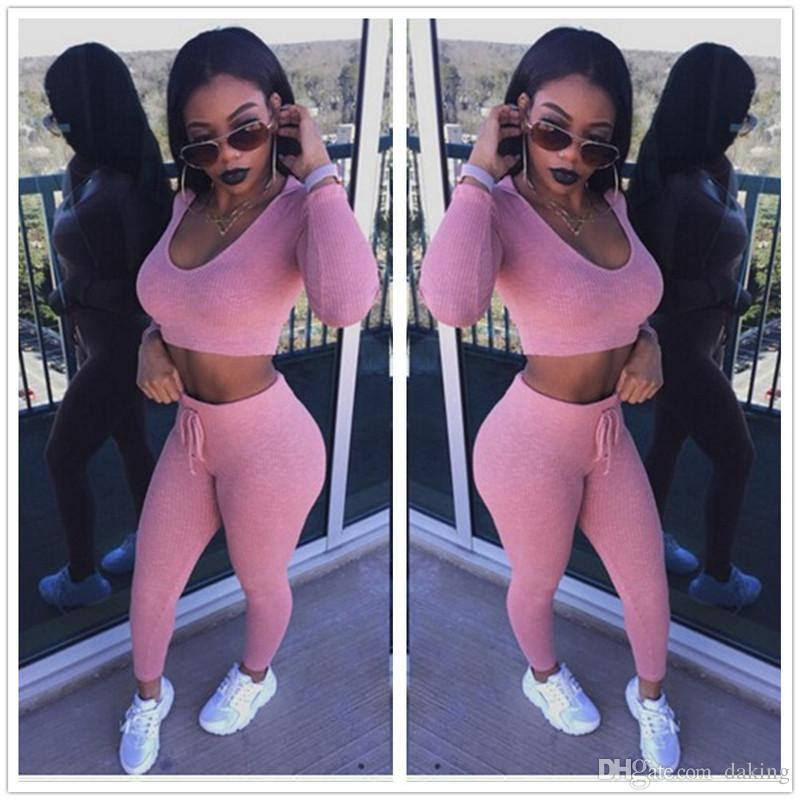 Europe nouvelle marée femmes capuche costume rose sexy tricot coton Sweat Ensembles Tops courts ajouter des pantalons longs élastique slim Cordon Sportswear