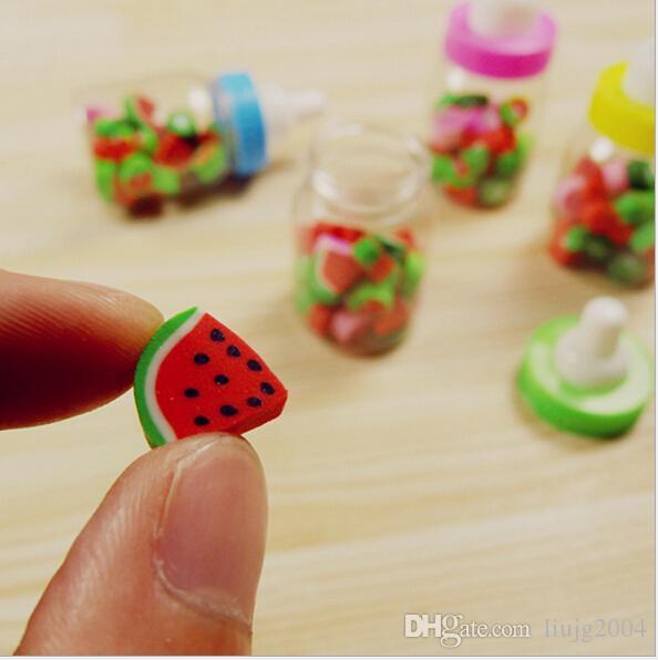 горячие продажи материала эсколар papelaria симпатичные канцелярские фрукты shaped карандаш резиновые ластик для детей бутылка бесплатная доставка