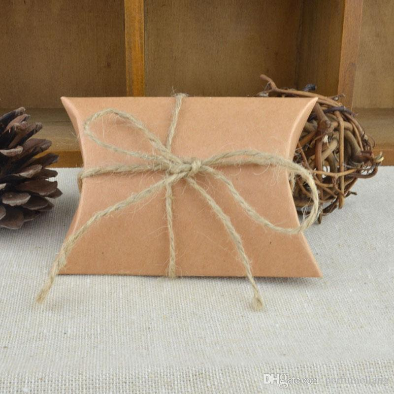 New Style Kraft Pillow Shape with Burlap Chic Vintage Twine Wedding Favor Gift Box Party Candy Box Wholesales ZA0972