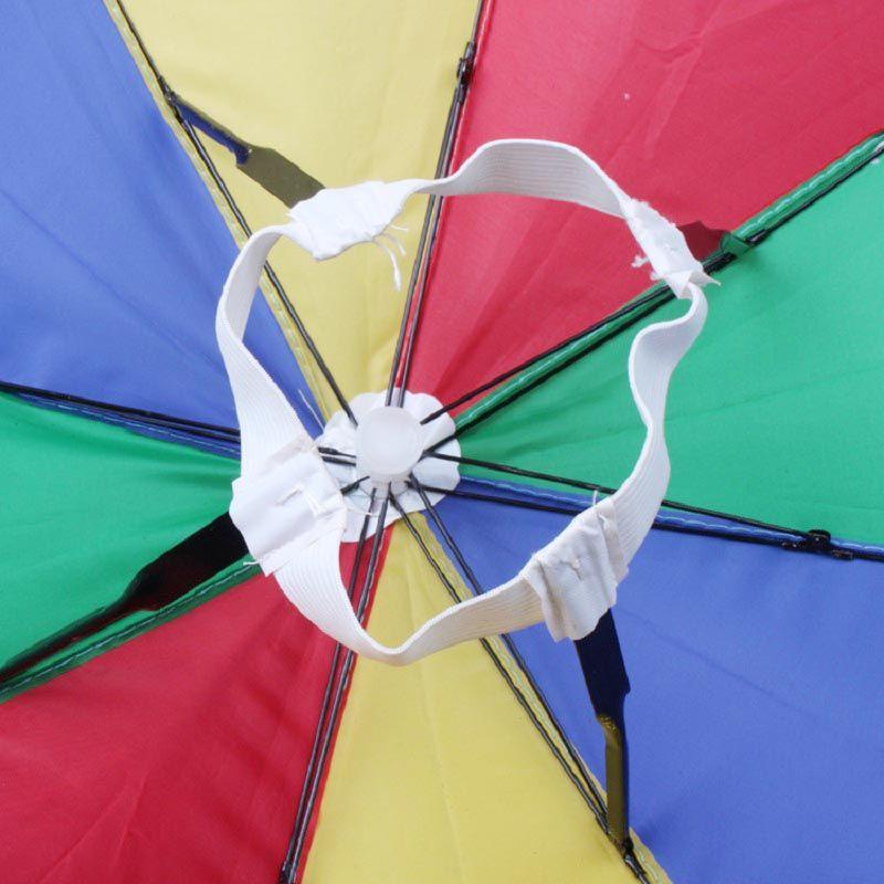 Umbrella Hat Elastic Headband Metal Frame Rainbow Cap Rain Sun Umbrella Wearing Head Hats For Clamping Fishing ZA0514